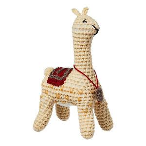 Knit Llama Baby Rattle Handmade Felt Wool Fair Trade
