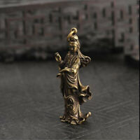 Chinese Old Collection Handwork Brass Guanyin Bodhisattva Pocket Statue 1pcs