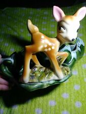 Vintage Bambi Large Ceramic Trinket Candy Tray Dish Deer Fawn Made in U.S.A.