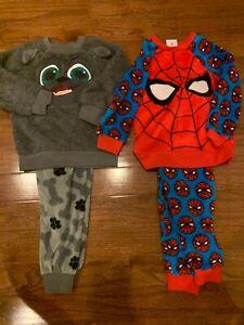 Preowned Disney BOYS winter Long Sleeve Top Pants PAJAMA SET spiderman puppy dog