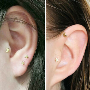 Moon + Star Set Gold Silver Screw In 1mm thick Cartilage Labret Helix Earrings