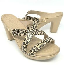 Crocs CYPRUS V HEEL 201301 Ladies Modern High Heel Slip On Sandals Oyster//Gold