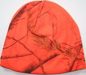 real tree blaze orange camo beanie hunting cap hat stocking lined realtree oak