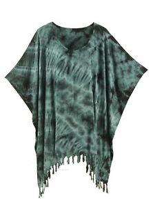 BeautyBatik Grey Womens BOHO HIPPIE Batik Tie Dye Plus Size Tunic Blouse Kaftan