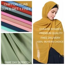 Chiffon Scarf Hijab High Quality Elegant Sarong Shawl Wrap Plain Maxi Soft New
