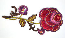 RED ROSE 'VELVET' FLOWER STEM Embroidered Iron Sew On Cloth Patch Badge APPLIQUE