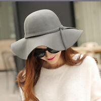 Curved Wide Brim Hats Women Fedoras Hat Woolen Winter Round Floppy Boonie Caps