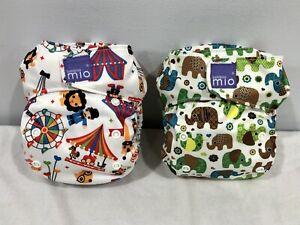 BAMBINO MIO Reusable Nappy x 2 Elephants Circus *Aussie Brand* Excellent Condit.