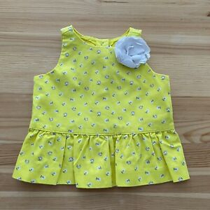 JANIE AND JACK Bright Blooms Yellow Floral Peplum Shirt Size 12-18 Months