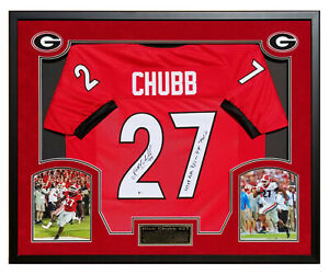 Nick Chubb Georgia Autographed Custom Jersey Framed Beckett COA Total Yards Insc