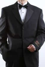 MENS 3 BUTTON SUPER 150S EXTRA FINE BLACK TUXEDOS SIZE 54L, PL-T60513