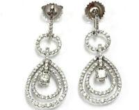 1.7 ctw Natural Diamond (G-H, VS-SI) Solid 14k White Gold Dangle Drop Earrings