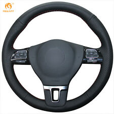 Black Leather Steering Wheel Cover for VW Tiguan Passat B7 CC Touran Jetta Mk6
