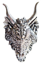Dragon Head Chunky Pewter Pin Badge - Hand Made in Cornwall