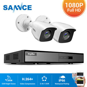 SANNCE CCTV System 1080P 4CH 5IN1 DVR 3000TVL Outdoor Camera Home Security IP66