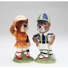 61509 Schnauzer Boy Girl Golfer Dog Salt Pepper Shaker Set Golf Club Golfing