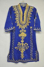 Middle Eastern ARABIC Embroidered BLUE Gold TRADITIONAL Dress ROBE Youth NO Size