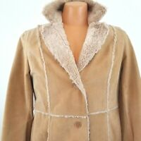 Giacca Womens Tan Suede Jacket Coat Faux Sherpa & Quilted Insulation Sz Large L