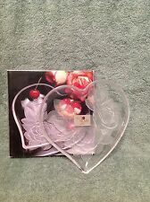 """Studio Nova Small Heart Shaped Glass Dish/Bowl """"Winter Rose"""" Japan Frosted Roses"""