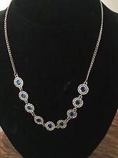 Vtg Art Deco 12K GF Blue Faceted Glass Rhinestone Necklace Filigree