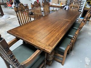 Stunning Good Condition 'old charm' dining table and chairs - 2600mm X 920