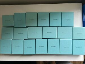 Authentic Tiffany & Co Blue Jewellery Bracelet Ring Necklace Charm Boxes x19