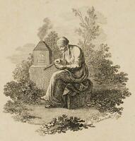CHODOWIECKI (1726-1801). Die Alte am Experimentierofen; Druckgraphik 2