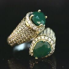 925 Sterling Silver Handmade Authentic Turkish Emerald Ladies Ring Size 7-11