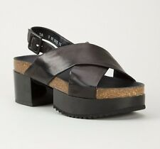 ROBERT CLERGERIE SHOES TESSA SLINGBACK SANDALS SOLID BLACK LEATHER 40.5 $650