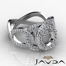 Oval Semi Mount Halo Pave 1.33Ct Diamond Designer Engagement Ring 14k White Gold