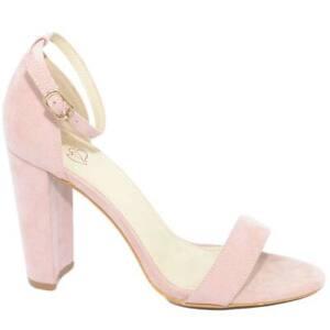 Sandalo donna rosa cipria scamosciato tacco largo alto 10 cm cinturino alla cavi