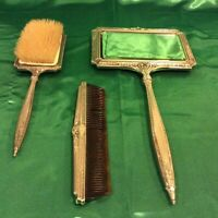 Antique Hand Mirror, Brush & Comb with Floral Enamel design
