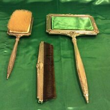 Antique Hand Mirror, Brush & Comb with Floral Enamel Located On Whidbey Island