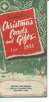 JA-001 - Christmas Cards and Gifts Catalog 1951 Truth Publishers Escondido, CA