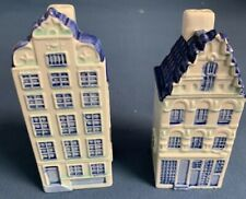 DELFT HOLLAND BLUE AND WHITE Handpainted Miniature House Salt and Pepper Shakers