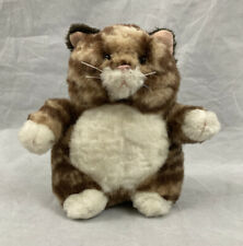 Russ Berrie Cat Kitten Plush stuffed Prudence Fat Brown Tan Tiger Cat 9 inch