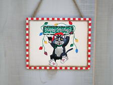 cute wood Holiday sign HAPPY HOLIDAYS cat