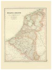 Benelux Netherlands Holland Belgium illustrated map Fullarton ca.1872