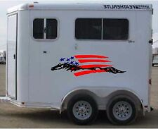 American Flag & Horse Trailer Enclosed Trailer Graphic Decal  18x62   Set of 2
