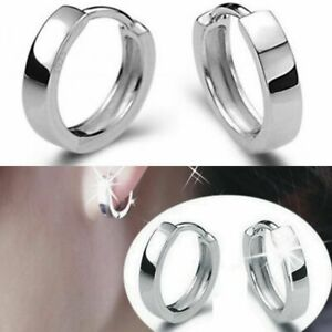 Men Women 925 Sterling Silver Small Round Hoop Huggie Sleeper Studs Earrings MM