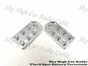 Pair of Sky High Car Audio Any GA (6) Spot Flat BATTERY TERMINALS BOLT USE ONLY