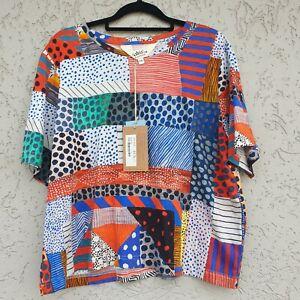 Gorman Size 14 Meshed T Shirt Cropped Geometric Pattern