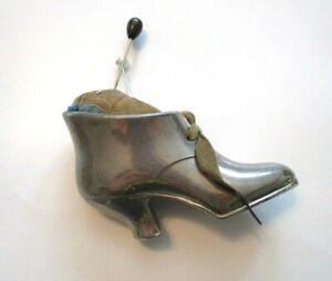 Vintage Pincushion Metal Victorian High Heel Shoe Silver Plated Velvet Hatpins