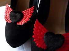 Black Satin or Velvet Heart & Red Wings Shoe Clips - Vintage, Tattoo, Burlesque