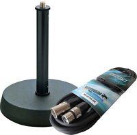 K&M 232 Tischstativ für Mikrofon + keepdrum Mikrofonkabel 6m