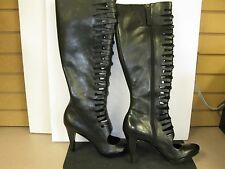 Tahari Lawton Black 100% Leather Knee High Lace Up Boots High Heel Sz10M