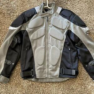 MOTOBOSS Jacket Padded Mesh Motorcycle Motocross Silver Black Mens Medium M