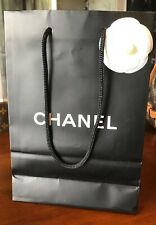 d9411e10687d 100% Authentic Chanel Black Small Shopping Gift Bag with White Camellia &  Tissue