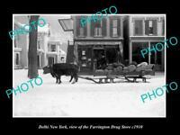 OLD LARGE HISTORIC PHOTO OF DELHI NEW YORK, VIEW OF FARRINGTON DRUG STORE c1910