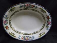 Minton B898, Smooth Edge, Blue Bands, Floral: Oval Serving Bowl AS IS, Crazing